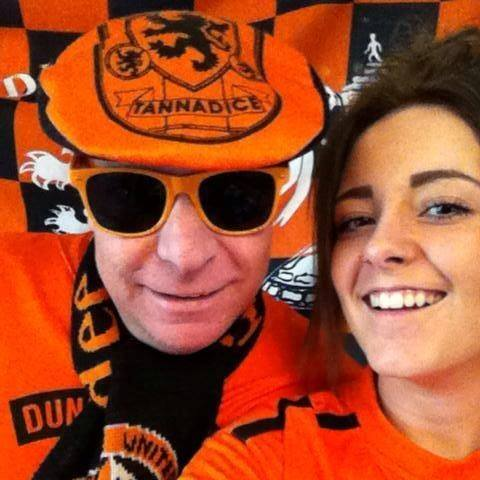 Steven and daughter Rebecca before a United game.