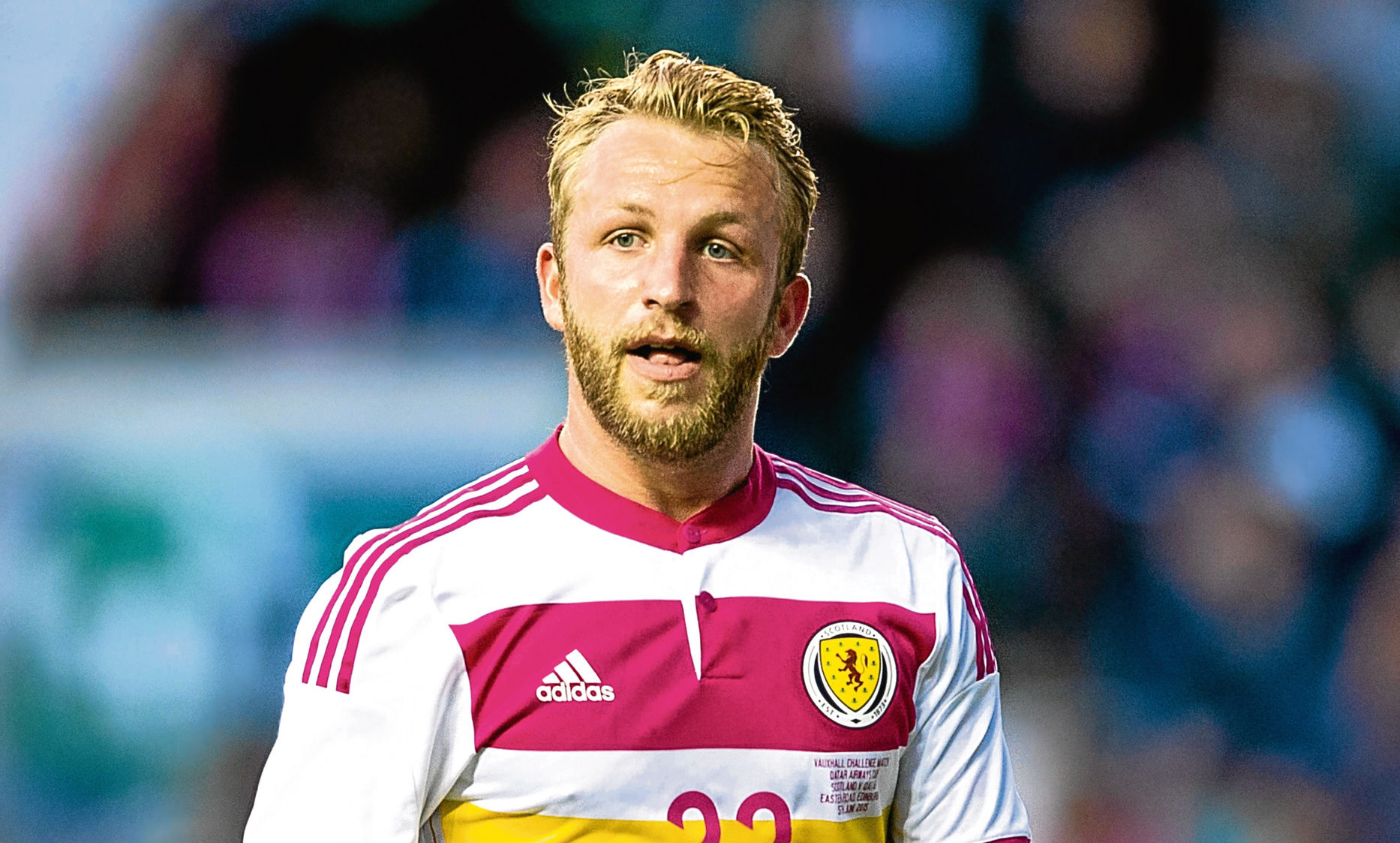 Former United man Johnny Russell in action for Scotland. He is one of Shankland's main rivals for a starting spot in Steve Clarke's side.