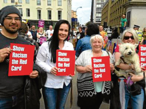 Nicola Hay (second left) at a Show Racism the Red Card event