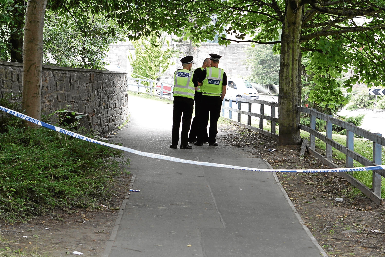 Police near the scene.