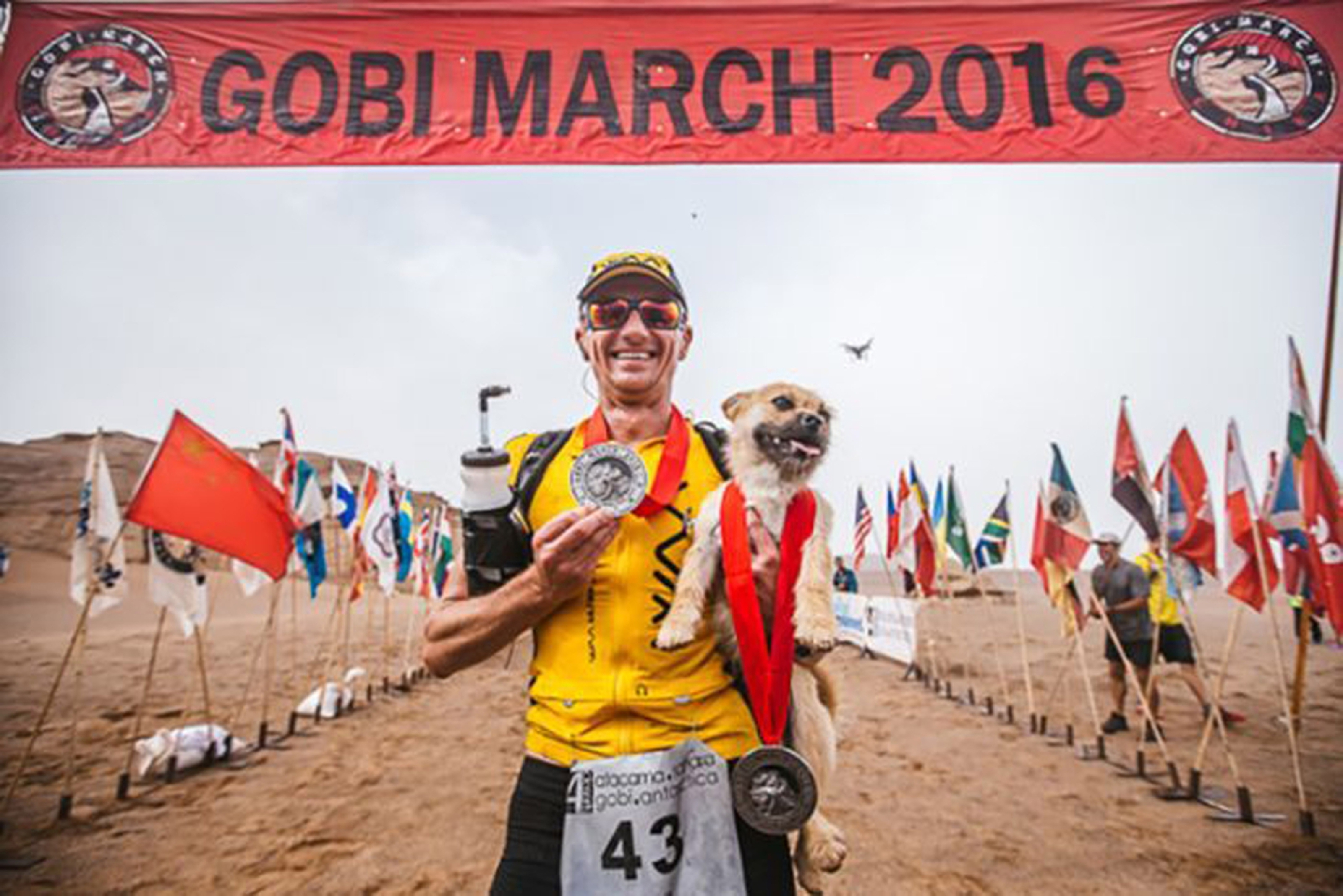 Dion Leonard with the dog, who has now been named Gobi