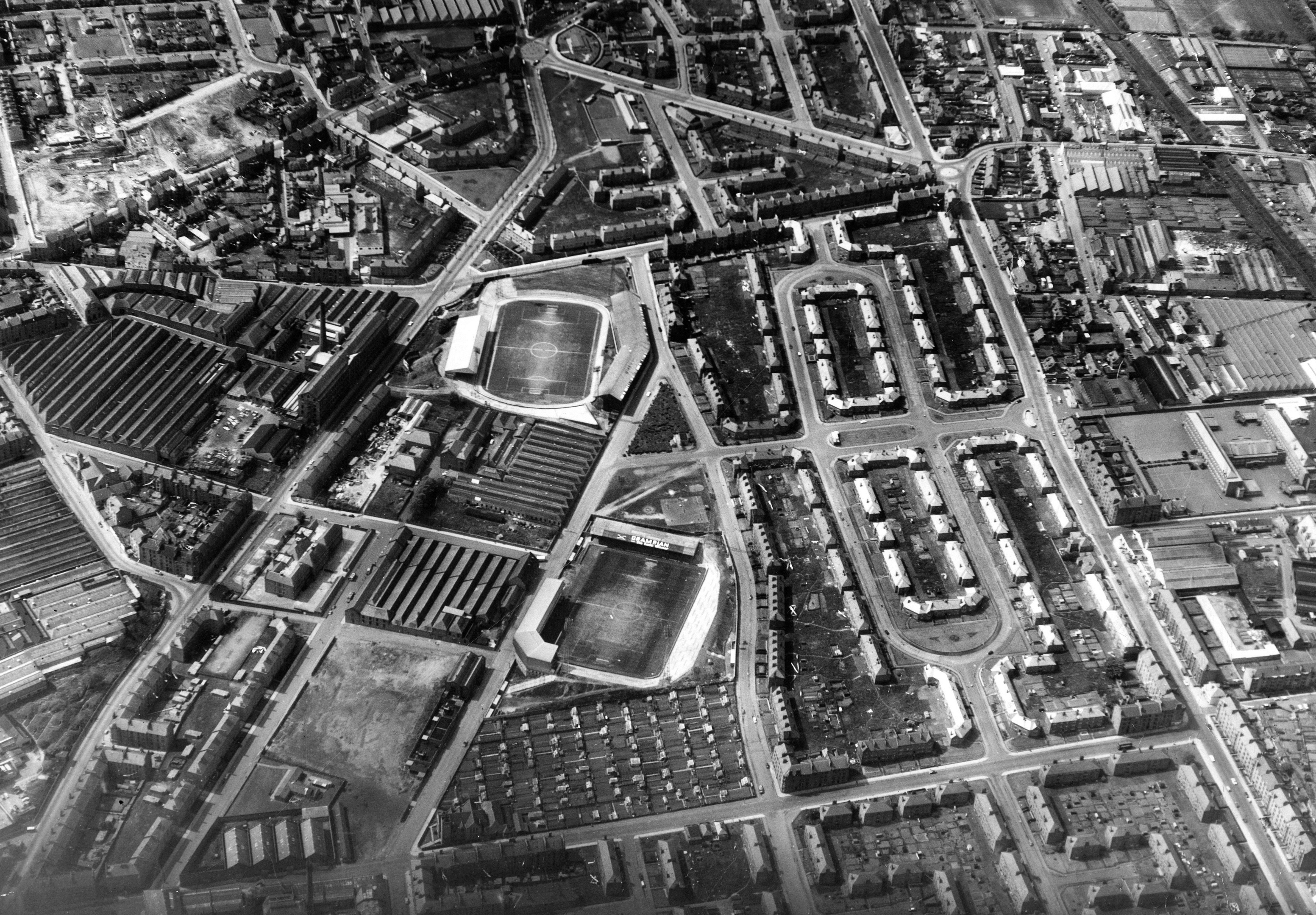An aerial view of Dens Park and Tannadice in 1964