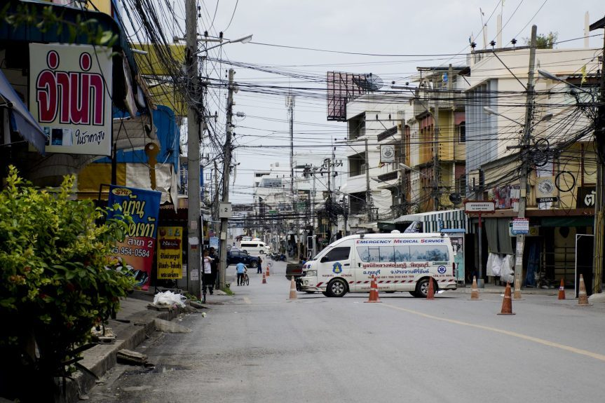 Authorities direct traffic after explosions  in the tourist city of Hua Hin