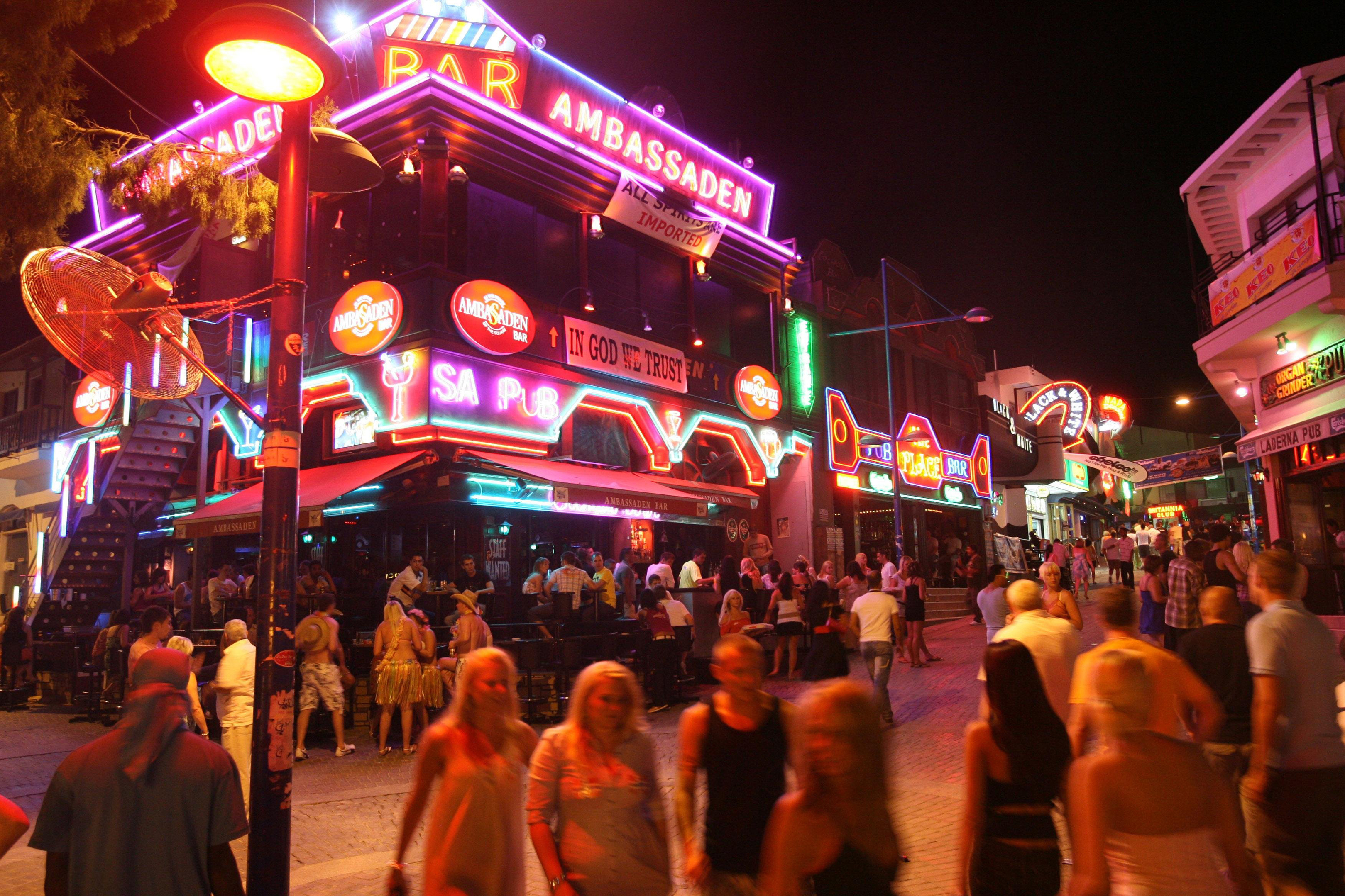One of the main strips in Ayia Napa