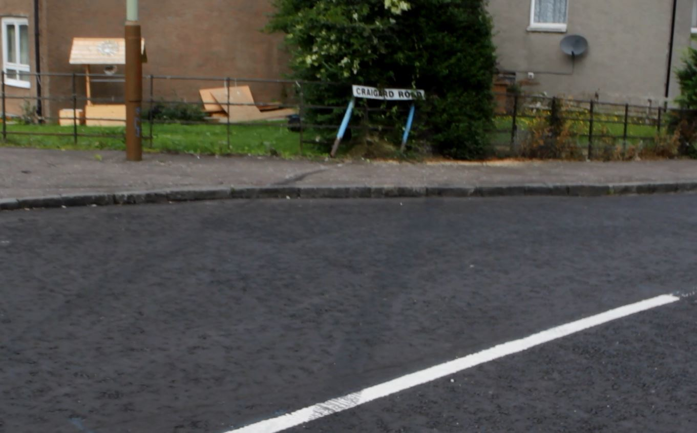 Tyre tracks can be seen on the road and where the car hit the railings.