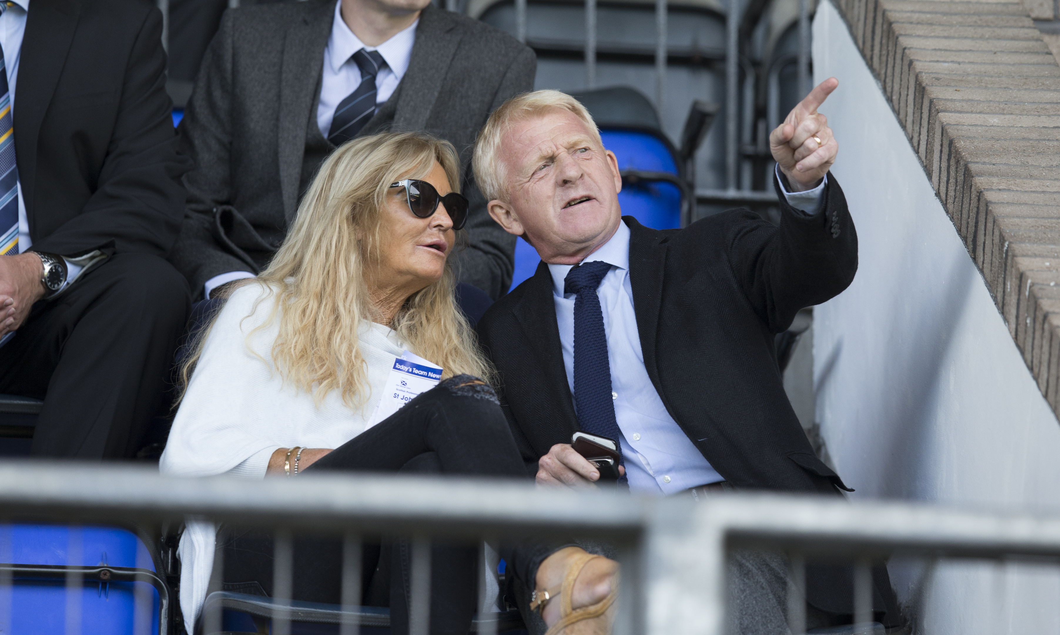Gordon Strachan in the stands at McDiarmid Park