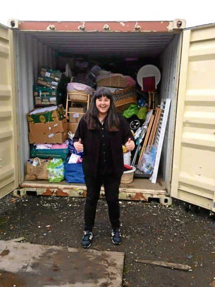 Jordan Butler with just some of the donations