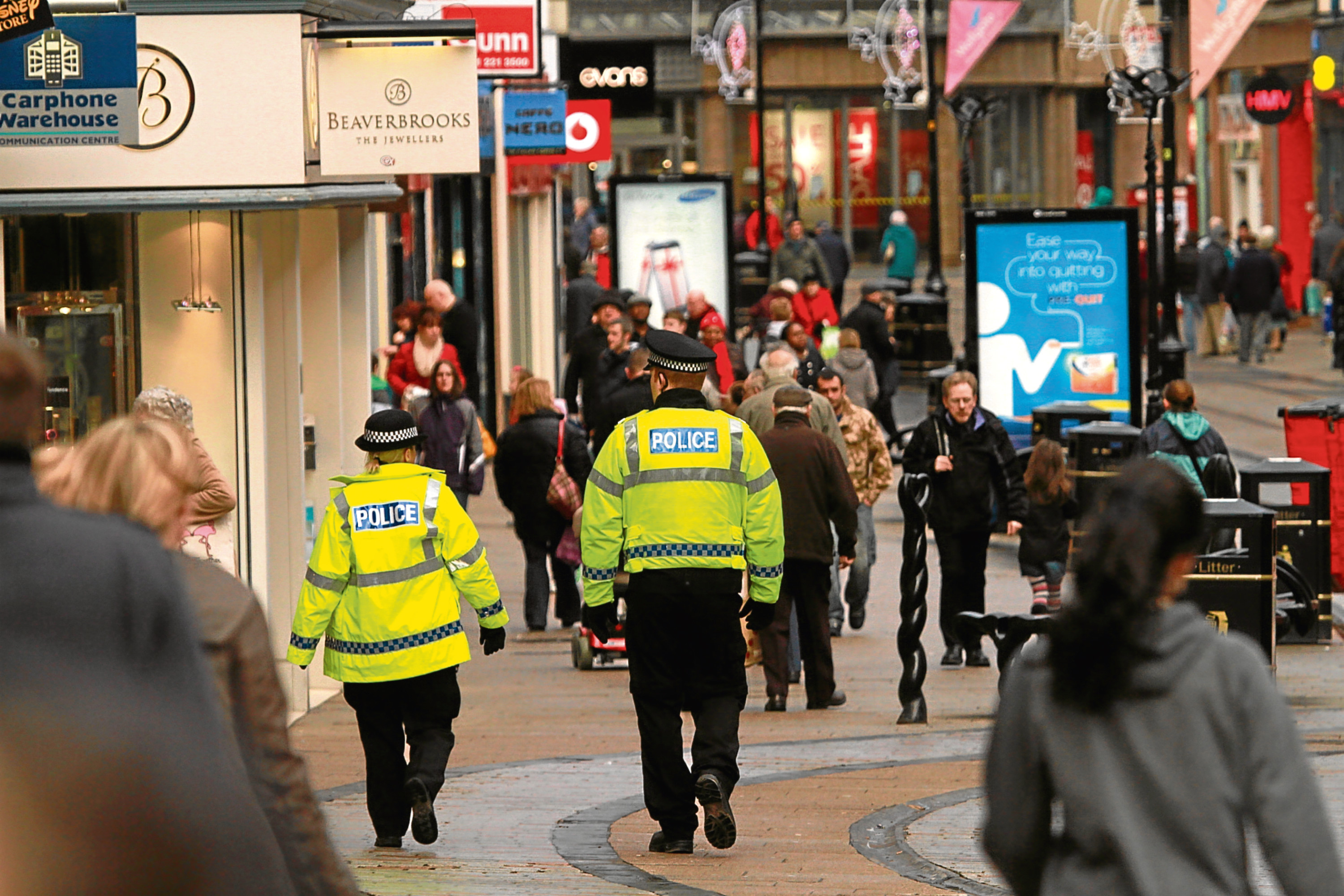 Police officers on patrol in Dundee city centre