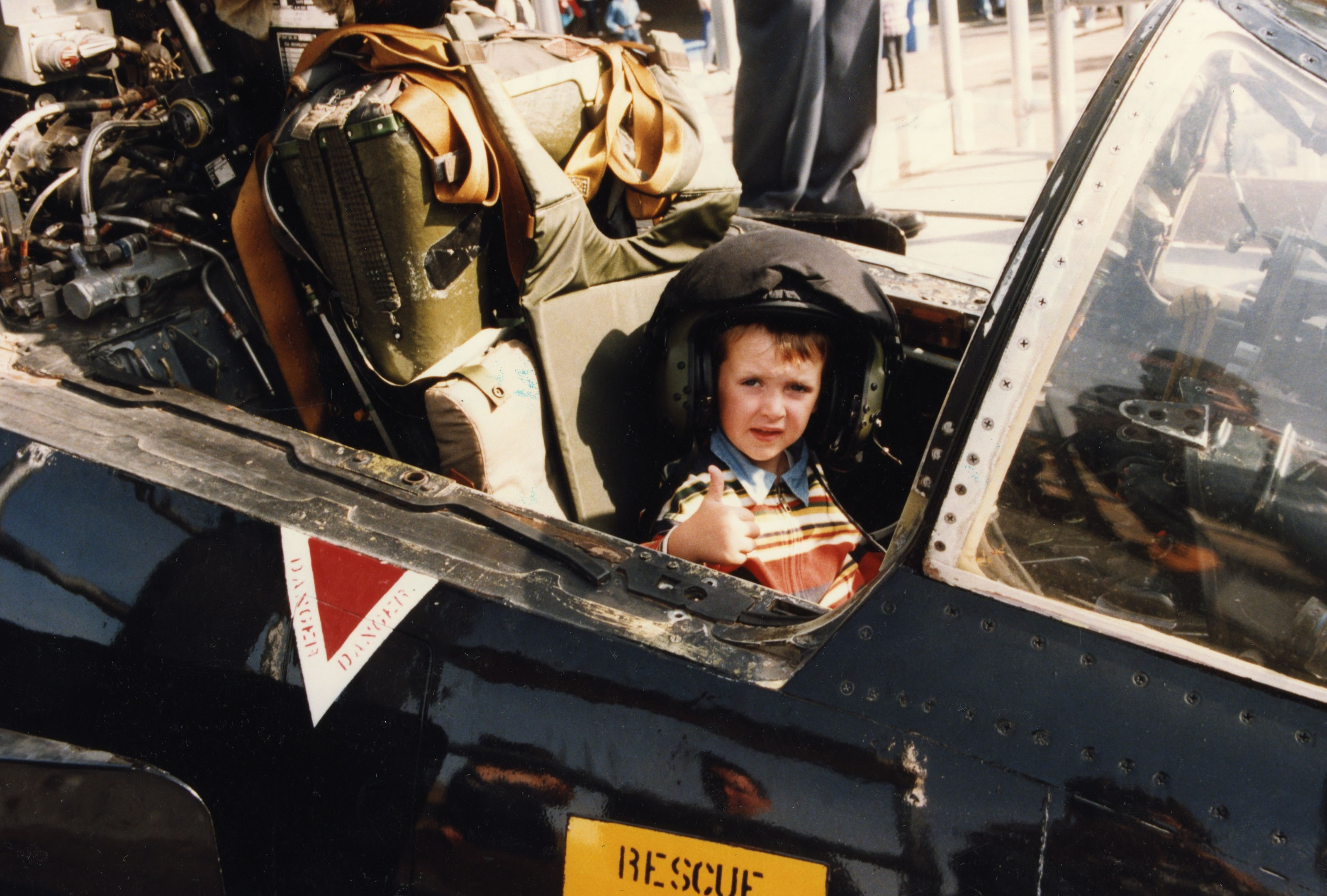 A young Jack Hunter  the cockpit in 1996.