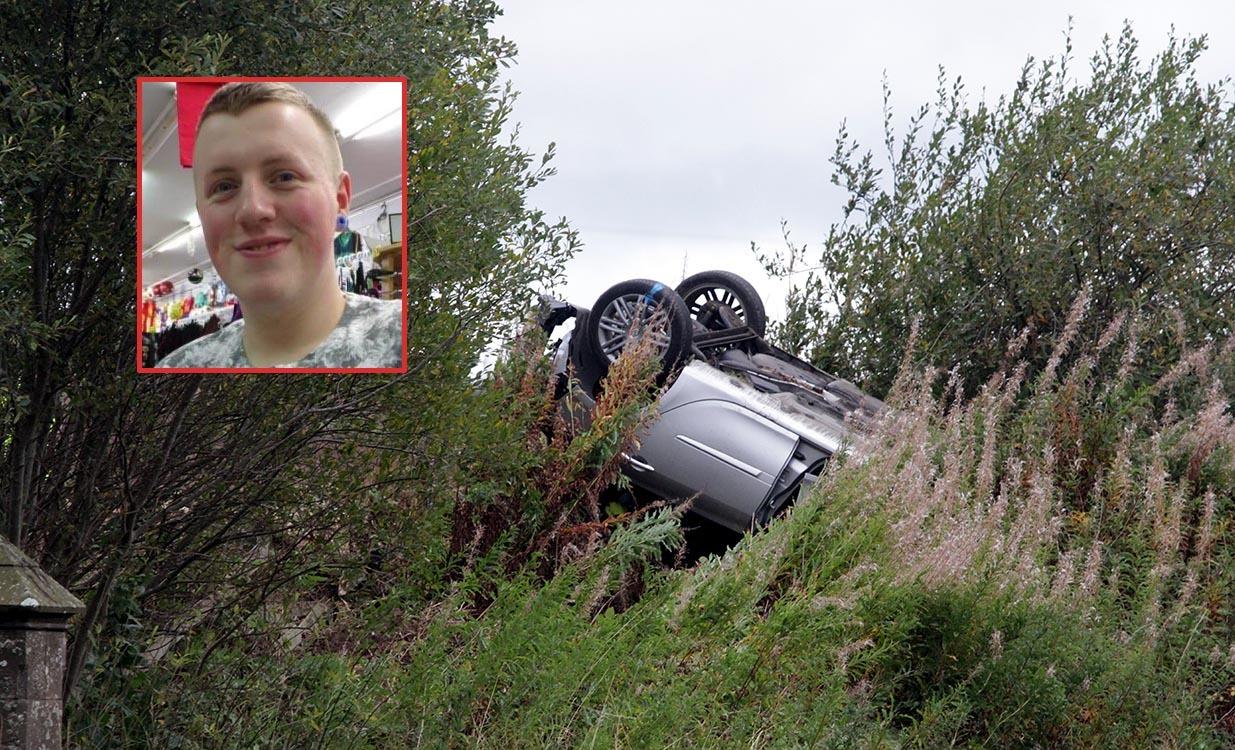 The scene of yesterday's crash and Kieran Innes (inset)