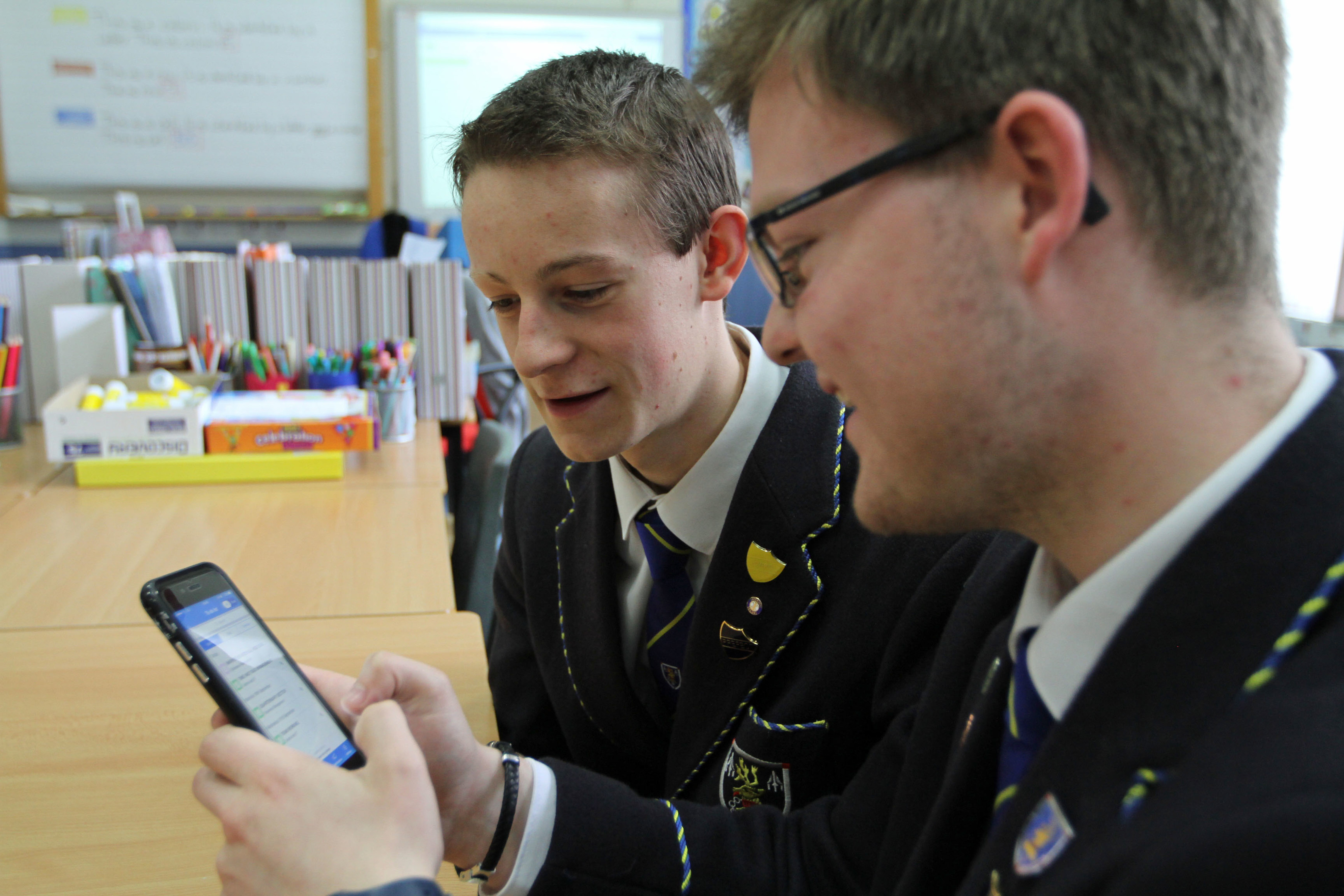Sixth-year pupils Paul Pomeroy (left) and Josh Harper try out the new app.