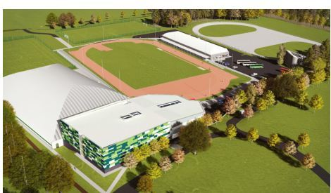 An artists impression of the proposed new sports centre, which would be located in Caird Park.
