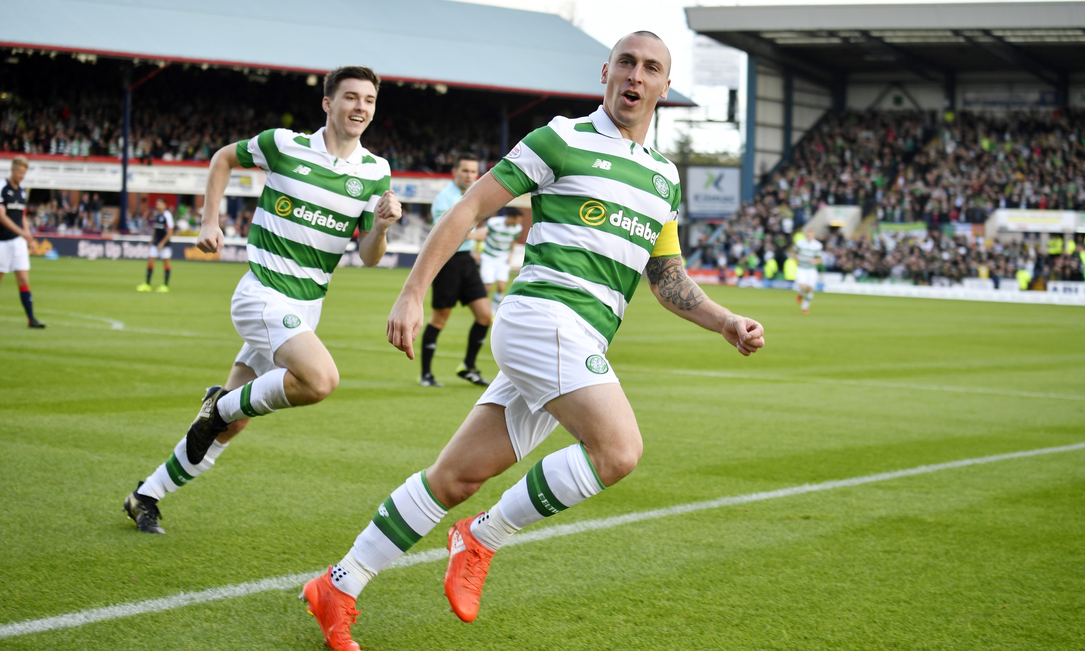 Celtic's Scott Brown celebrates having scored the only goal of the game