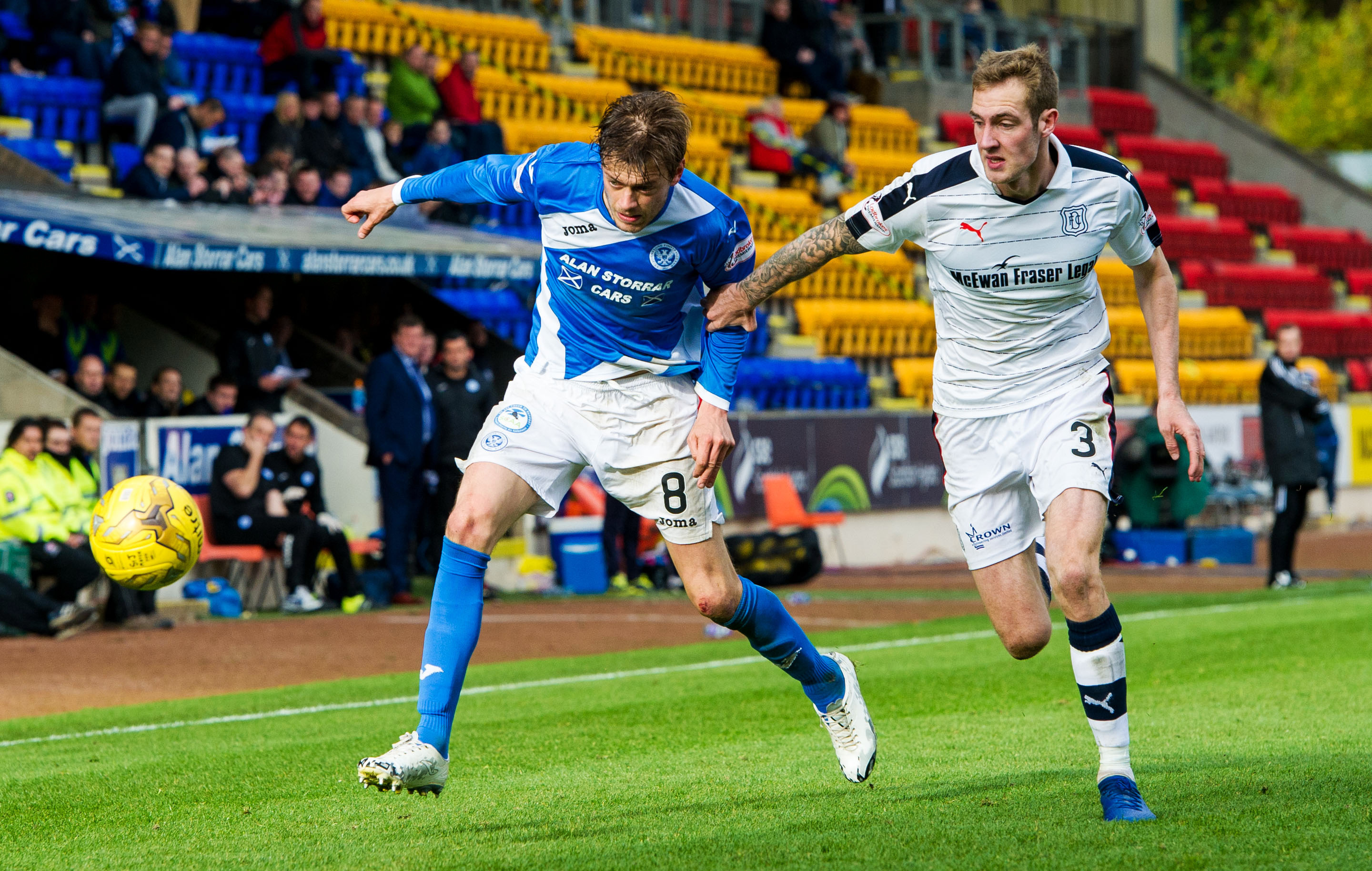 Murray Davidson tussles with Dundee's Kevin Holt