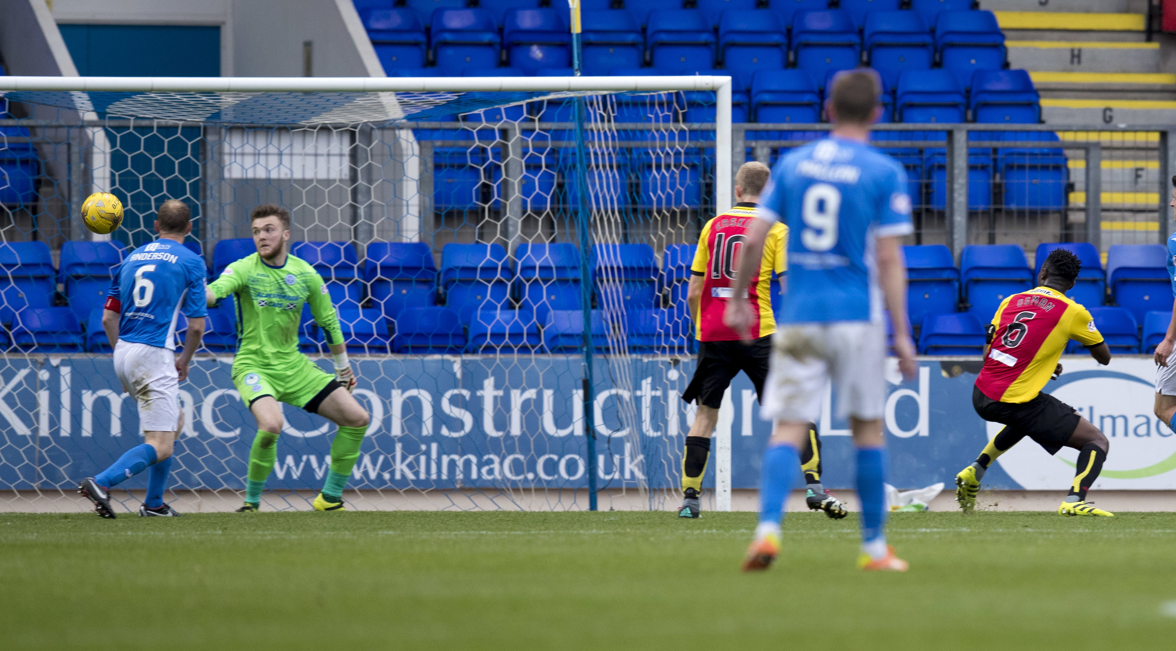 Partick's Abdul Osman scores his side's winning goal at McDiarmid Park