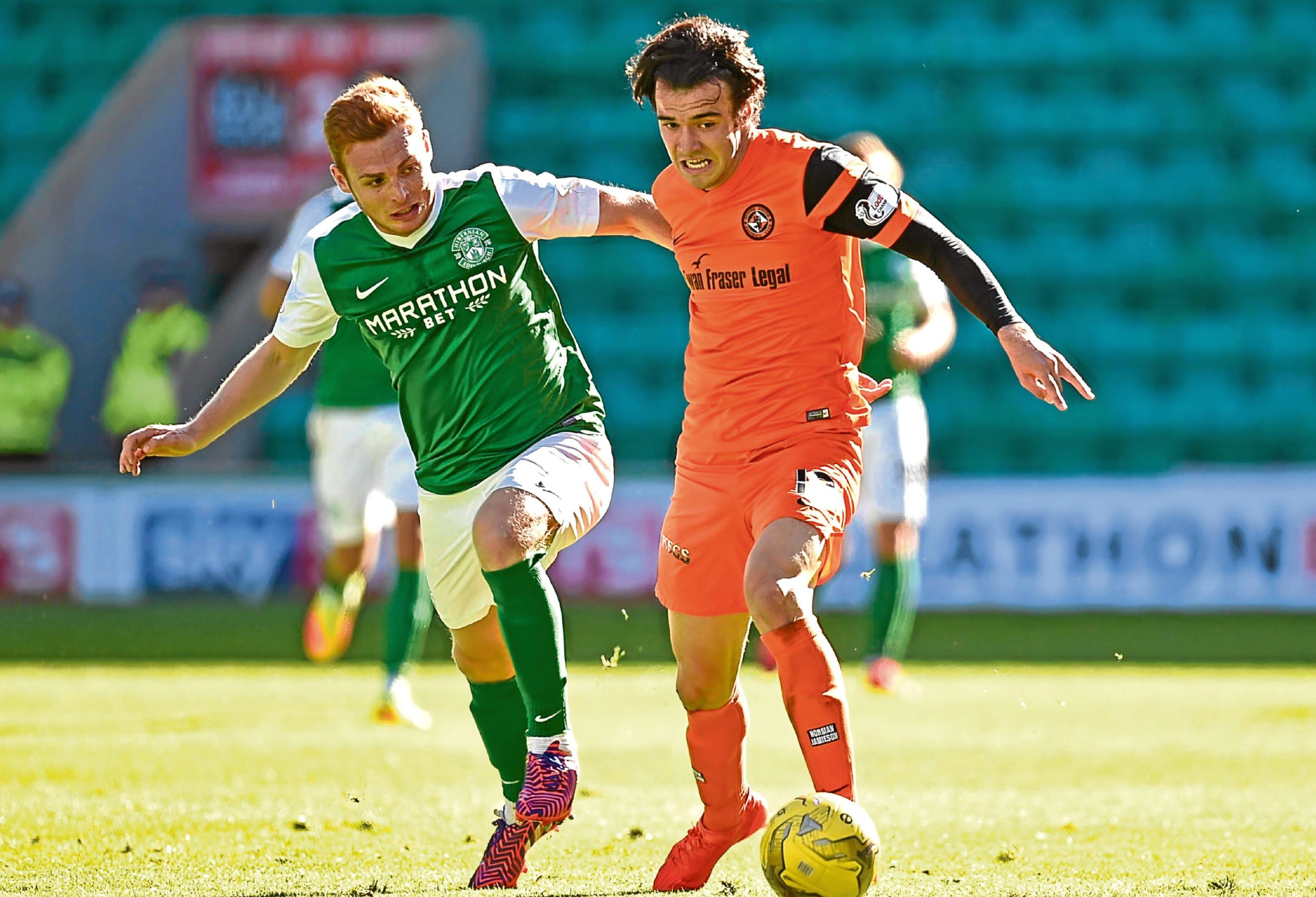 Scott Fraser put in a power of work against Hibs at Easter Road on Sunday.