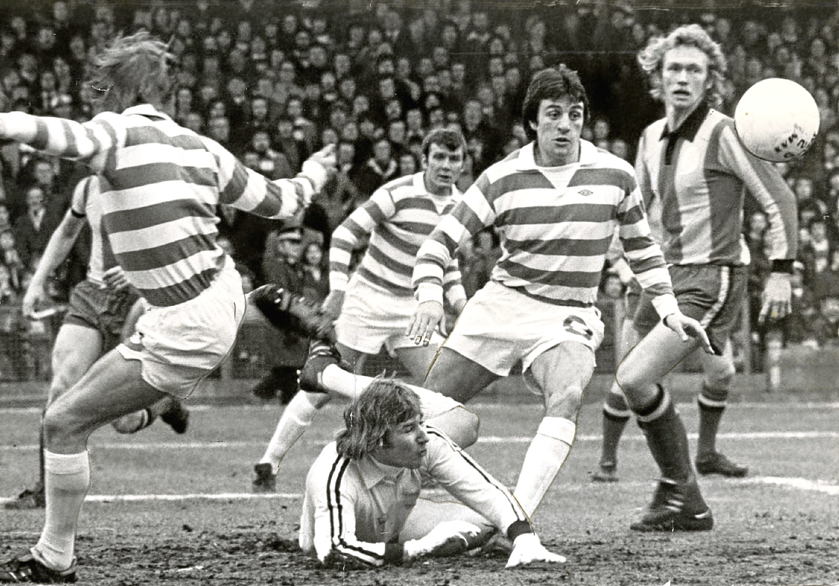 Celtic's Joe Craig, second right.