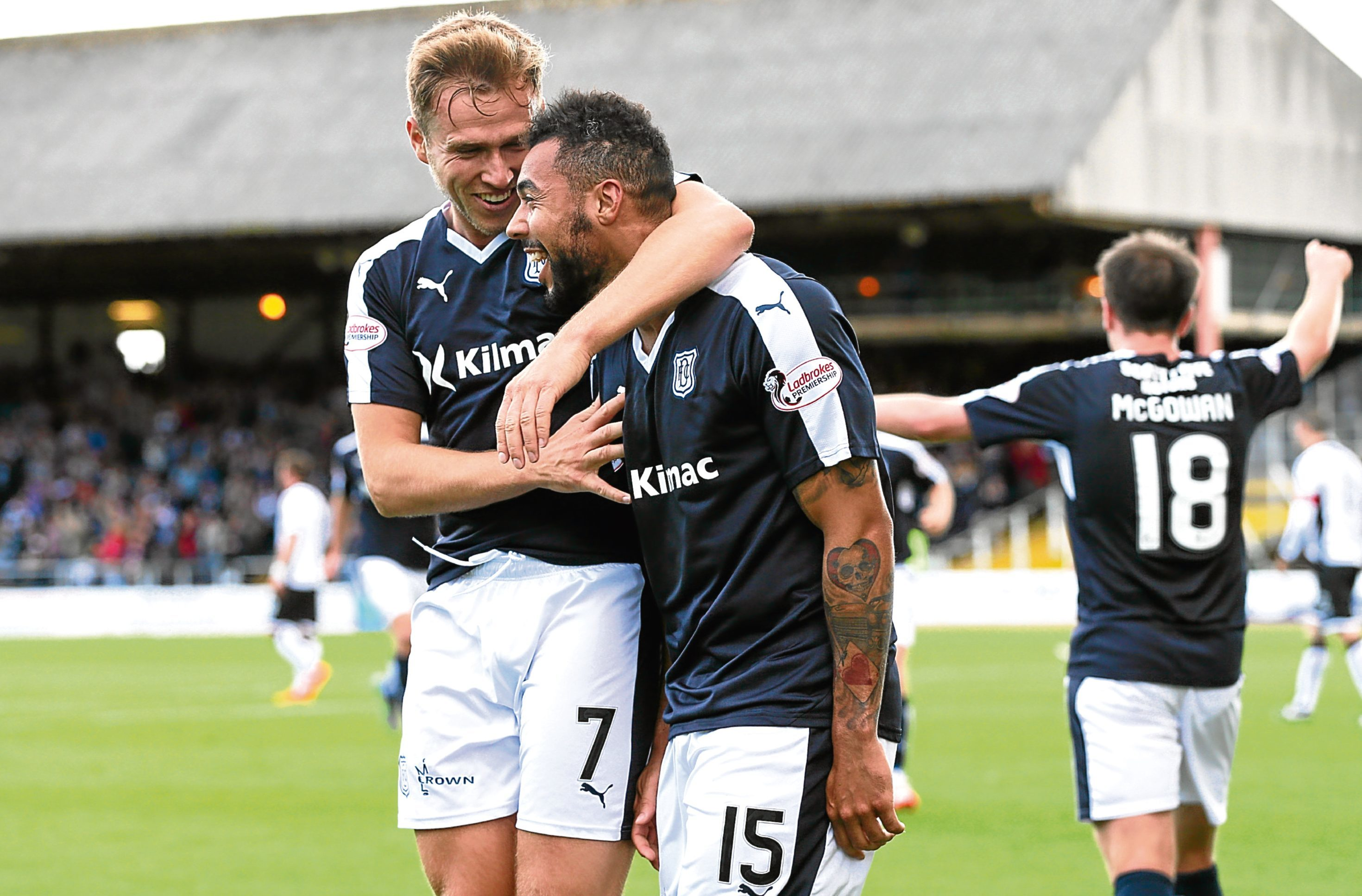 Last season's free-scoring Dundee duo Greg Stewart and Kane Hemmings.