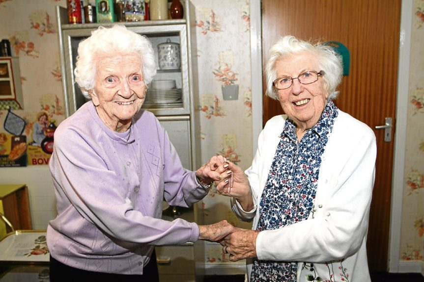 Balcarres Care Home residents Margaret Hendry, 101, and Margaret Simpson, 85.