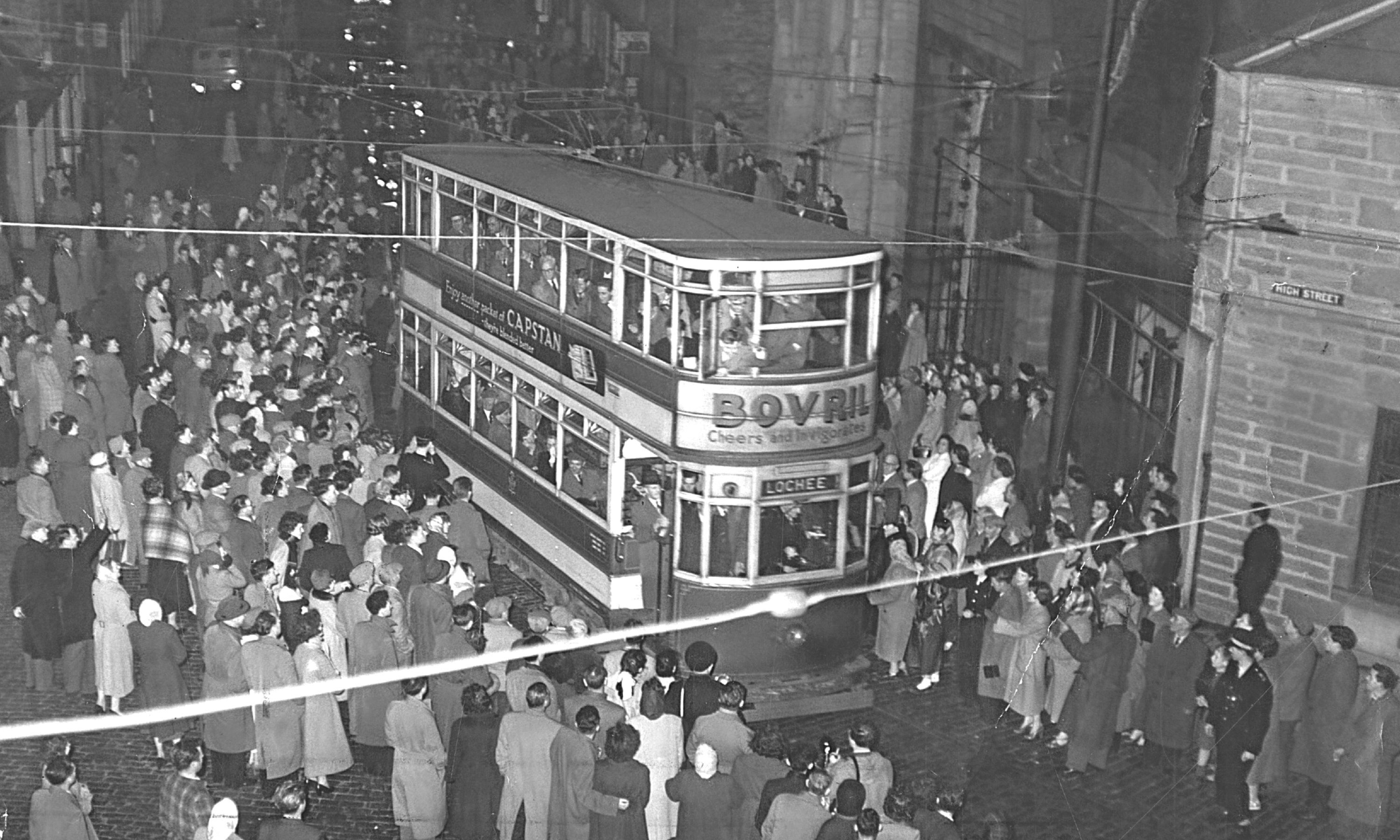 A large crowd gathered to see Dundee's last tramcar enter the Lochee Depot on October 21 1956.