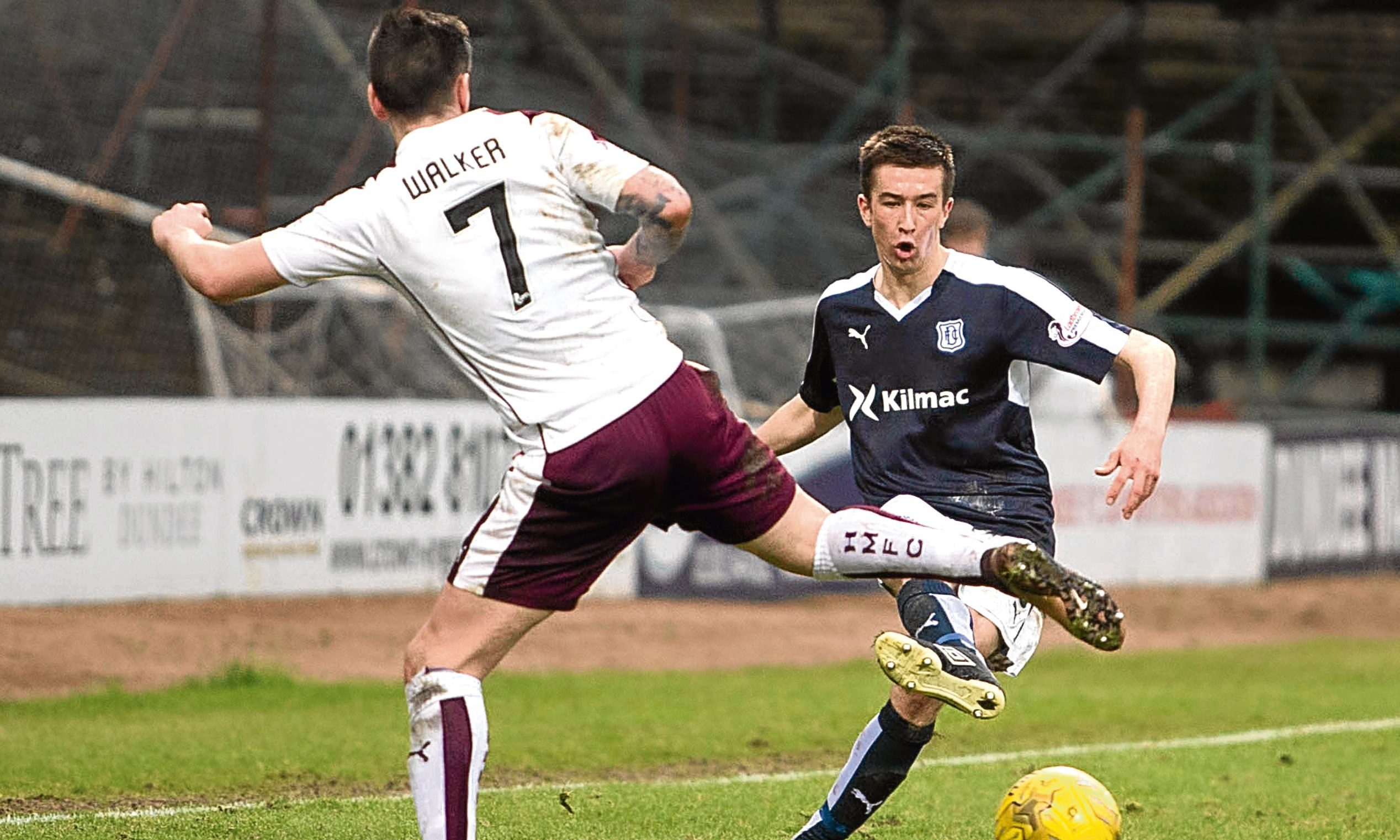 Cammy Kerr gives Jamie Walker the slip at Dens when Hearts were the visitors in March last season.