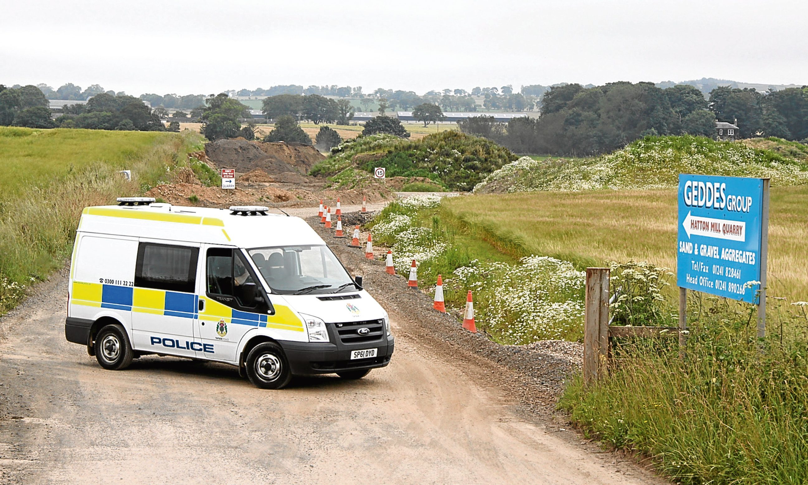 Police at Hatton Mill Quarry in Friockheim, Angus, in 2012.