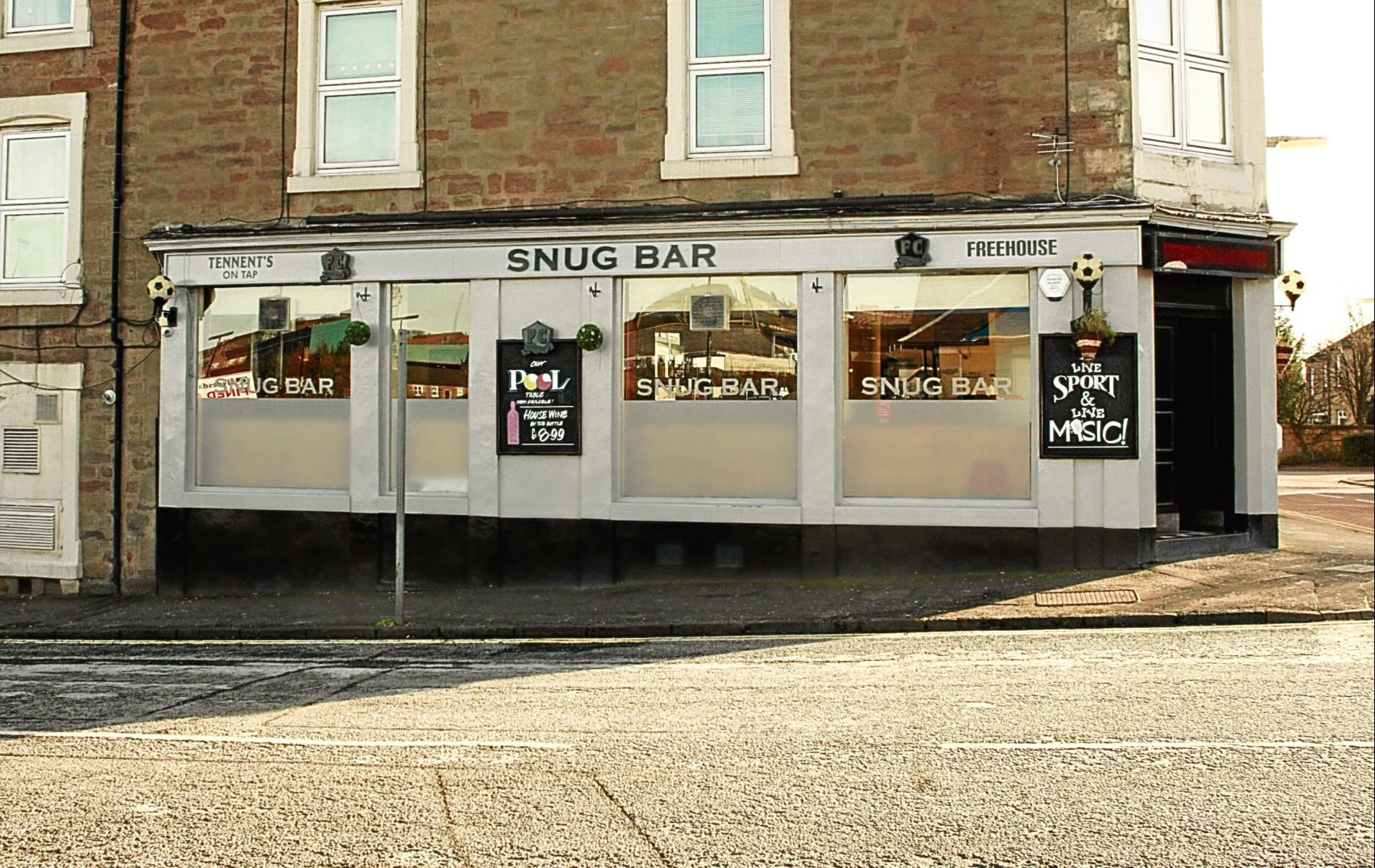 The Snug Bar at the corner of Church Street and Main Street in the Hilltown.