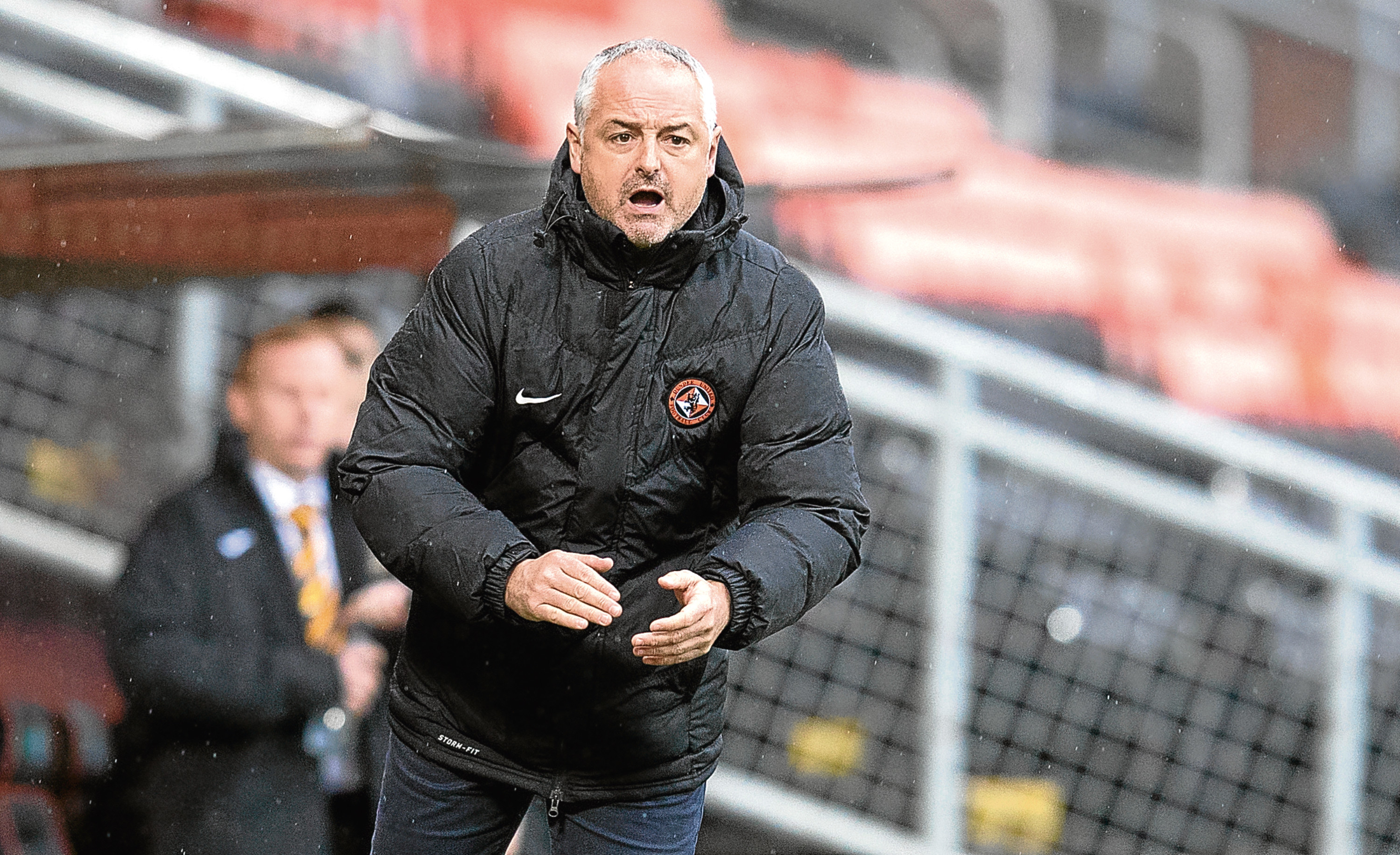 Dundee United boss Ray McKinnon on the touchline