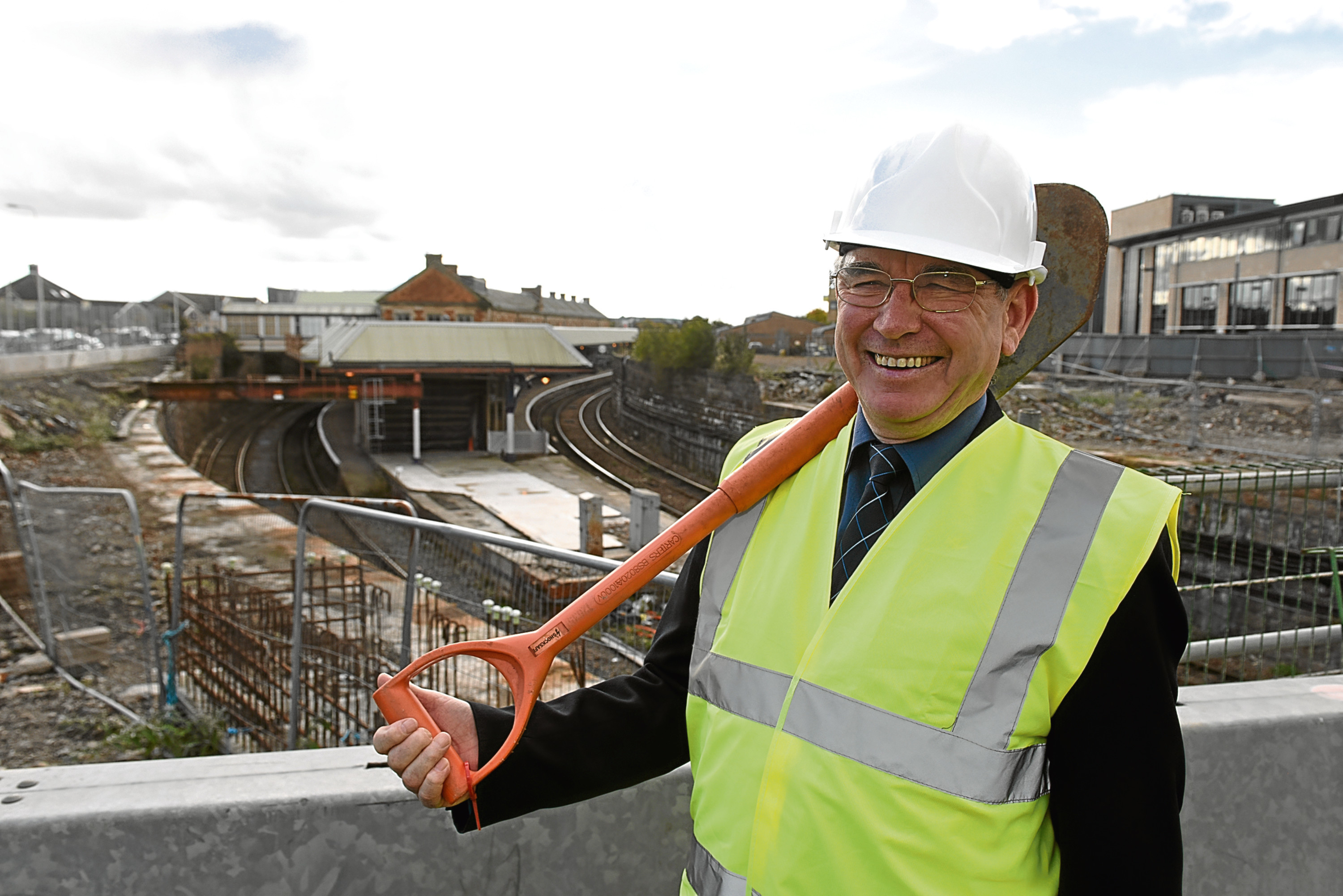 Councillor Ken Guild at a construction site at the Waterfront.