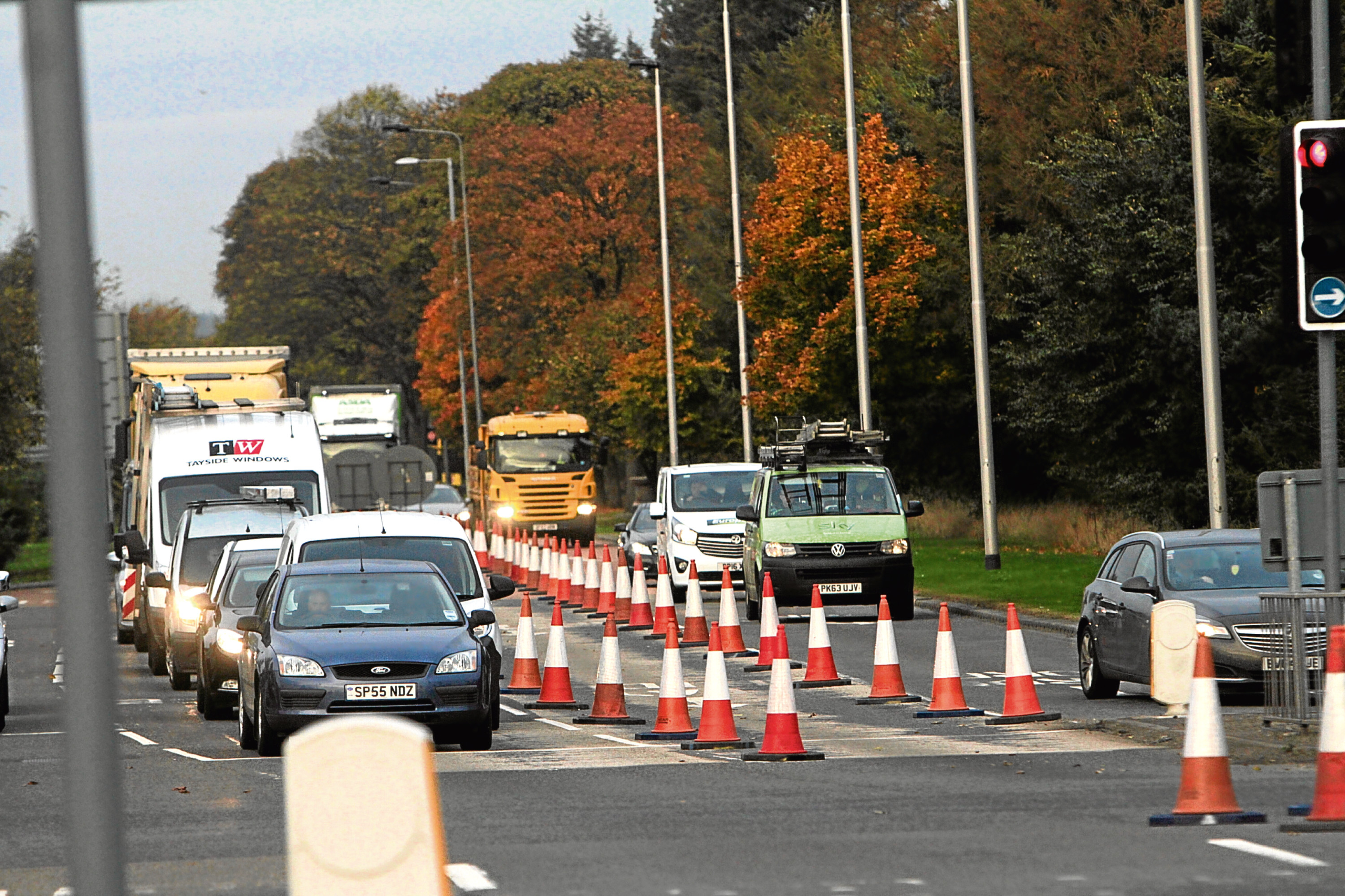 Traffic at the Forfar Road junction this morning.