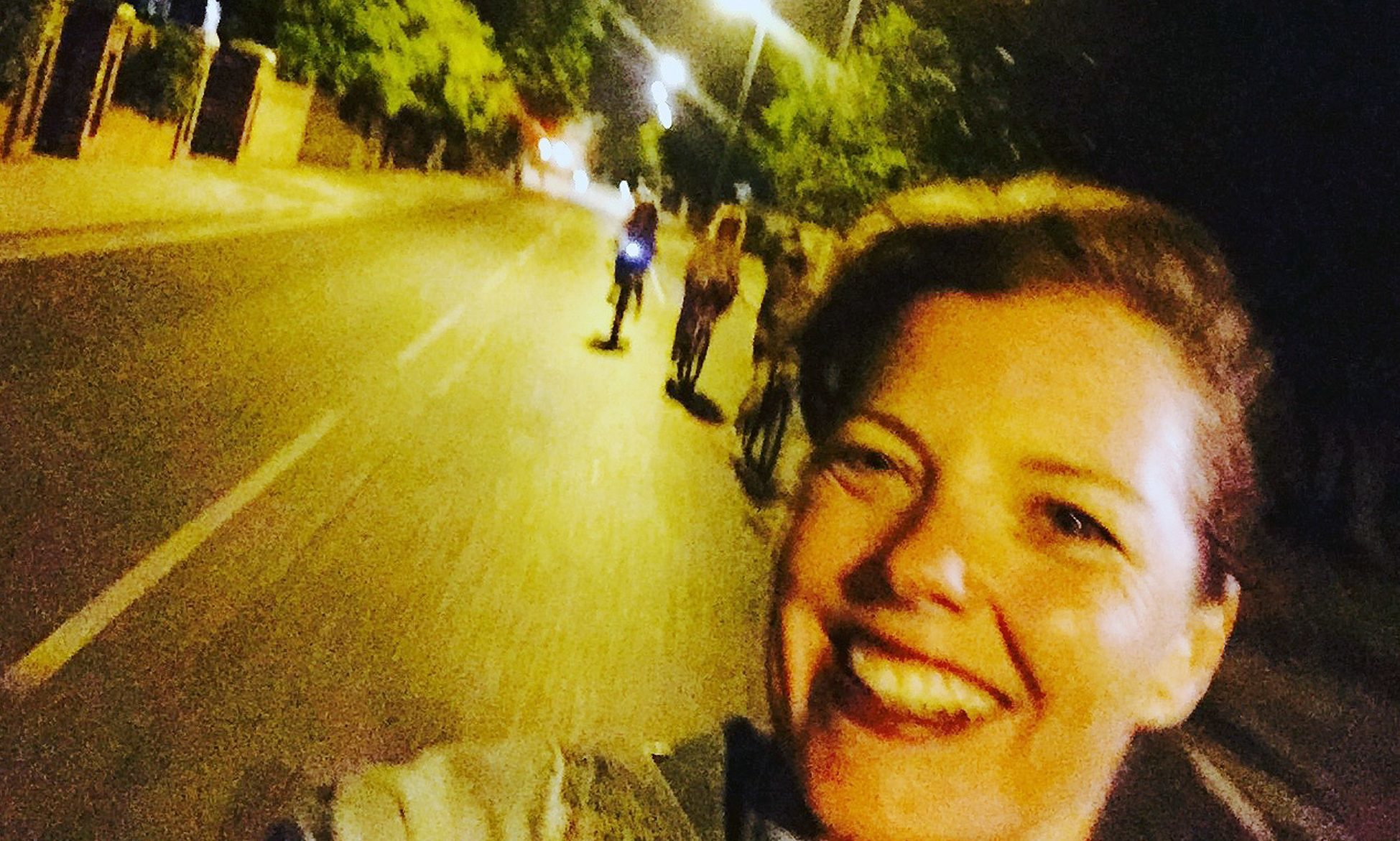 Carmen Greenway taking a selfie moments before she hit a bumpy patch of road and lost control.