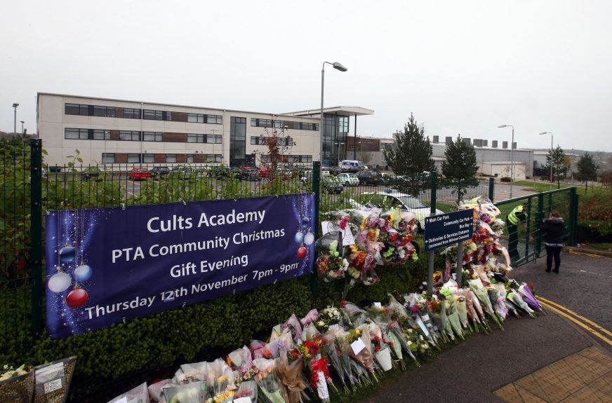 Floral tributes outside Cults Academy following Bailey's death