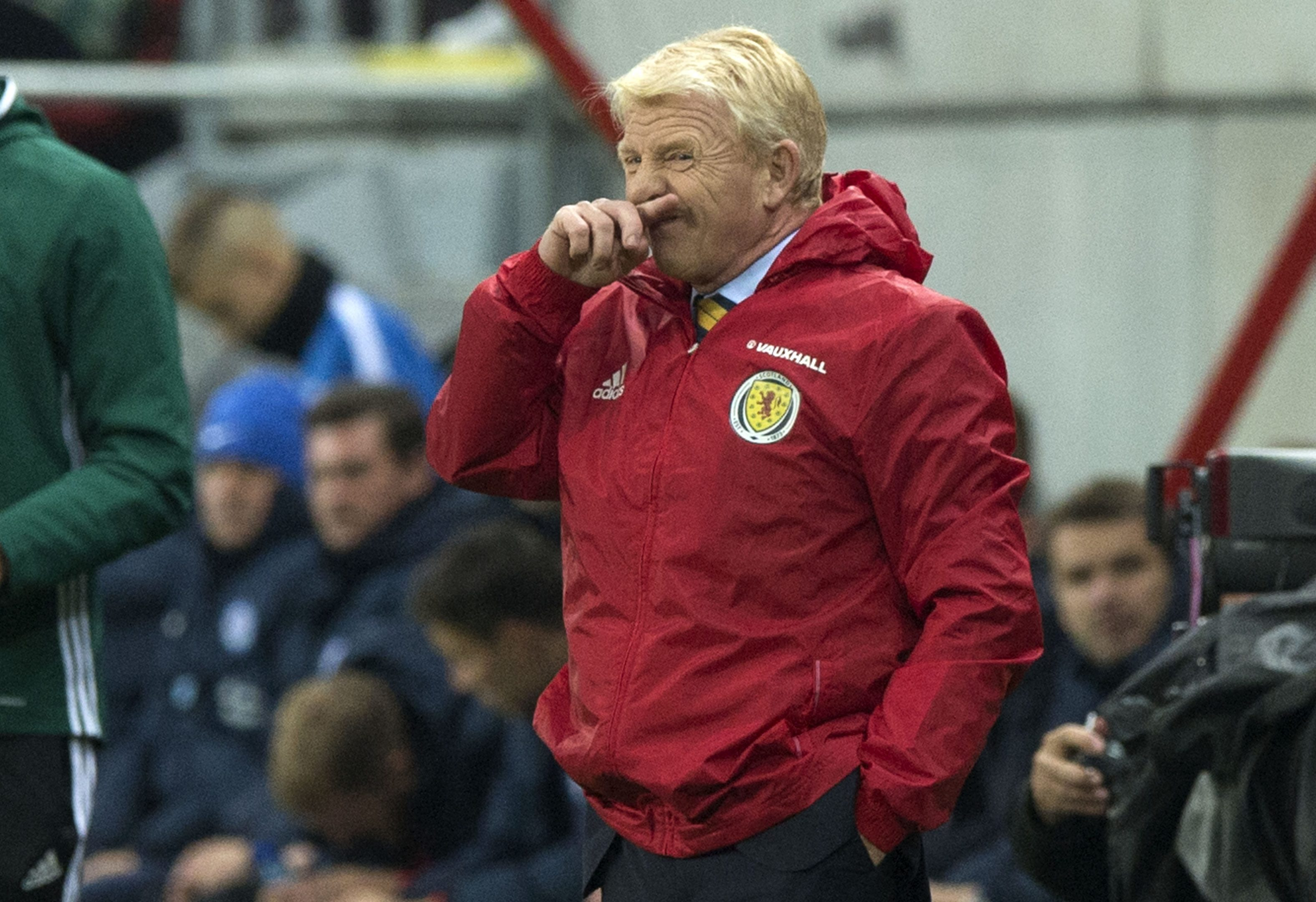 Gordon Strachan on the touchline during last night's game.