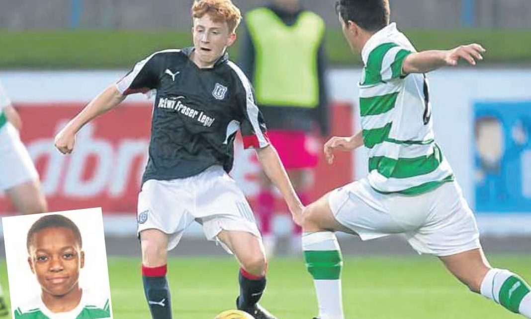 Fourteen-year-old George Johnston played for Dundee's U/20s Development side. Inset: Karamoko Dembele.