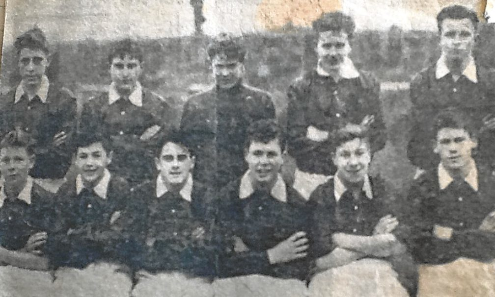 Tommy Allan sent in this photos from his personal scrapbook. Left — The Dundee Schoolboys U/15 side which defeated Clackmannan 6-3 in the second round of the Scottish Cup. Back row (from left) — Dunn (Lawside), Doyle (Lawside), Donnelly (Harris), McCallum (St John's), McDonald (Stobswell). Front row — Tosh (Logie), Thomson (Logie), Allan (Stobswell), Duff (Harris), Bell (Logie), McGregor (Stobswell).
