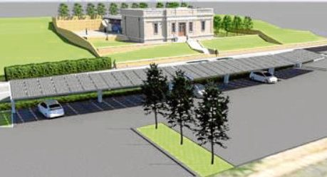 An artist's impression of how the proposed charging hub would look, with Broughty Ferry Library visible in the background.
