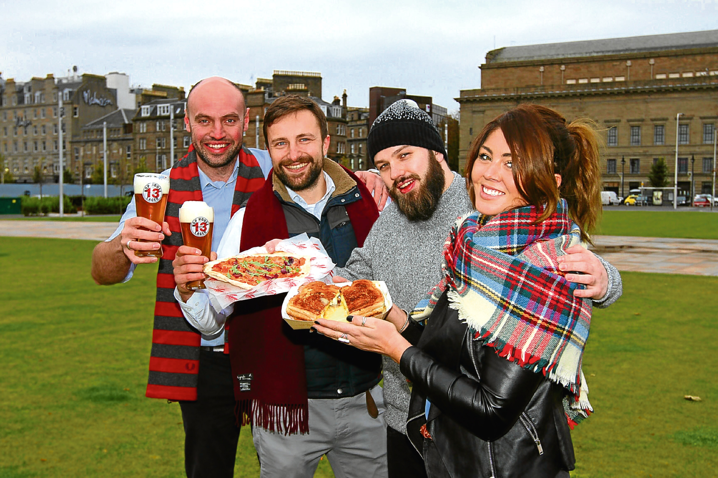 Promoting the market at Slessor Gardens are (from left) Bon Viveur's Andrew McMahon and Jake Zakrzewski, along with Martin Cleary, of The Vintage Food Truck and Kate Carter, of The Cheesy Toast Snack.