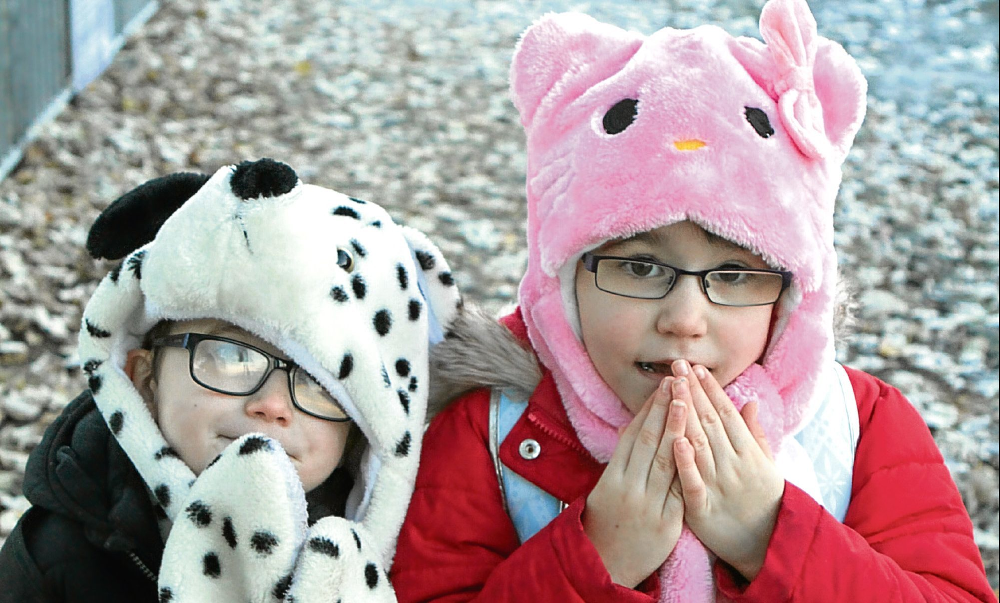 Andrew Haggart, 5, and sister Emma, 6, on their way to Hillside Primary School. The pair had to wrap up warm to beat the freezing conditions.