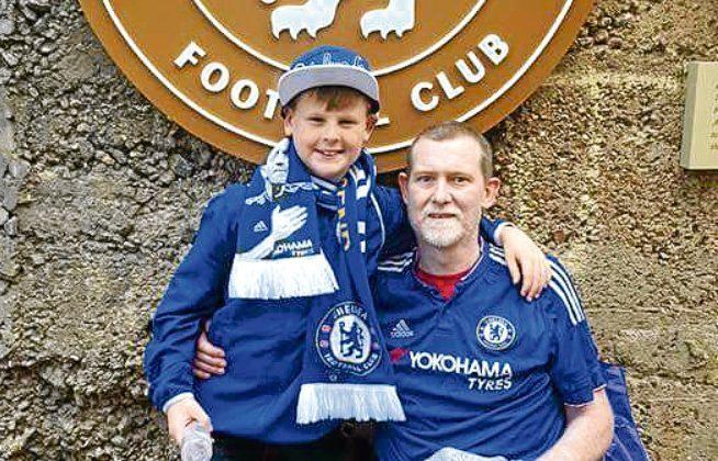 Steve Rennie with his son Stephen at Stamford Bridge