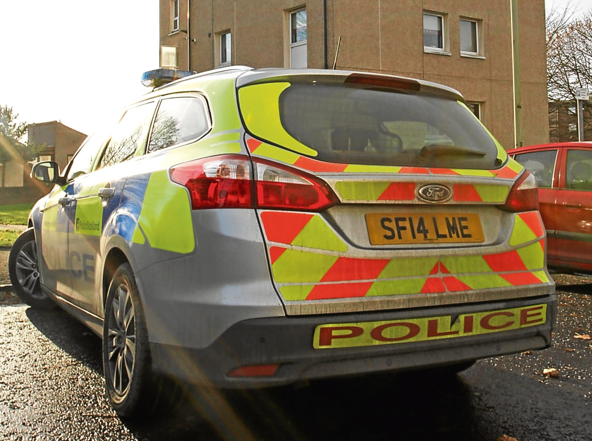 Police were in Spey Drive yesterday after a fire in a flat.