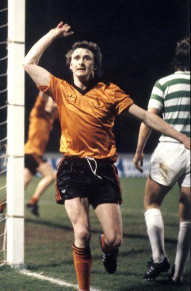 Paul Hegarty celebrates a goal against Celtic in 1981
