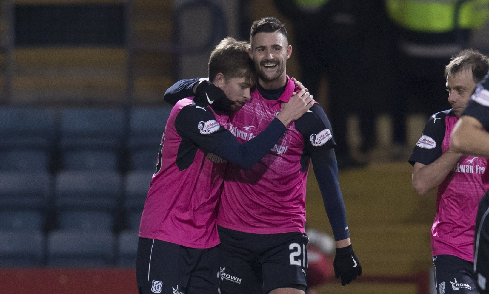 Marcus Haber thanks Craig Wighton for setting up his goal towards the end of the game.