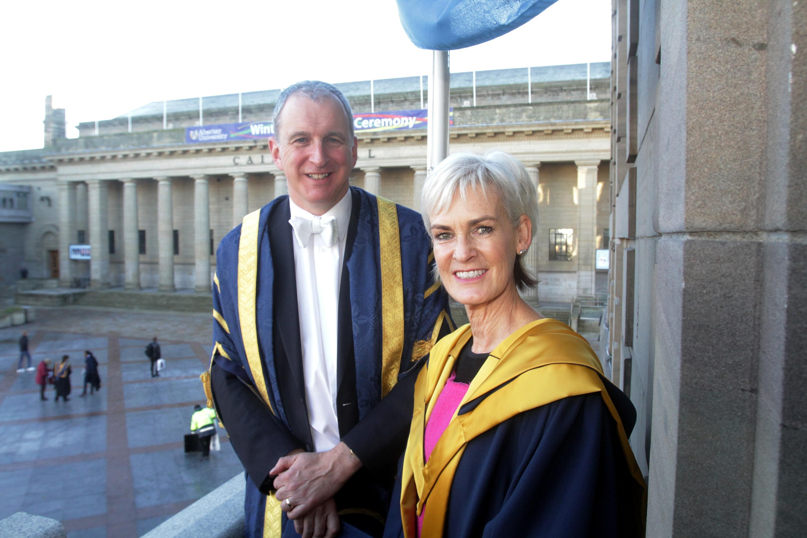 Abertay Principal Nigel  Seaton with Judy Murray today.