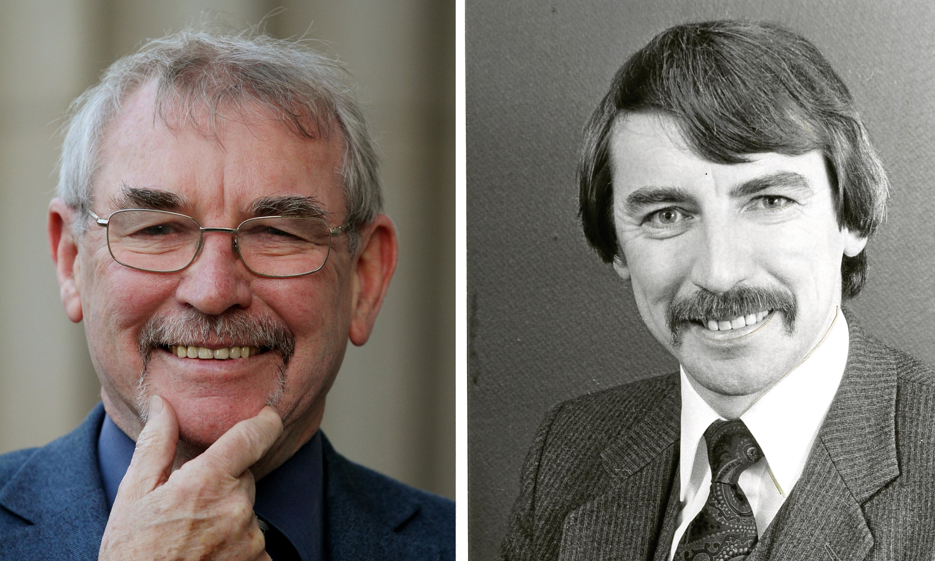 Ken shows off his 2016 Movember growth while (right) is how he looked in the 1980s.