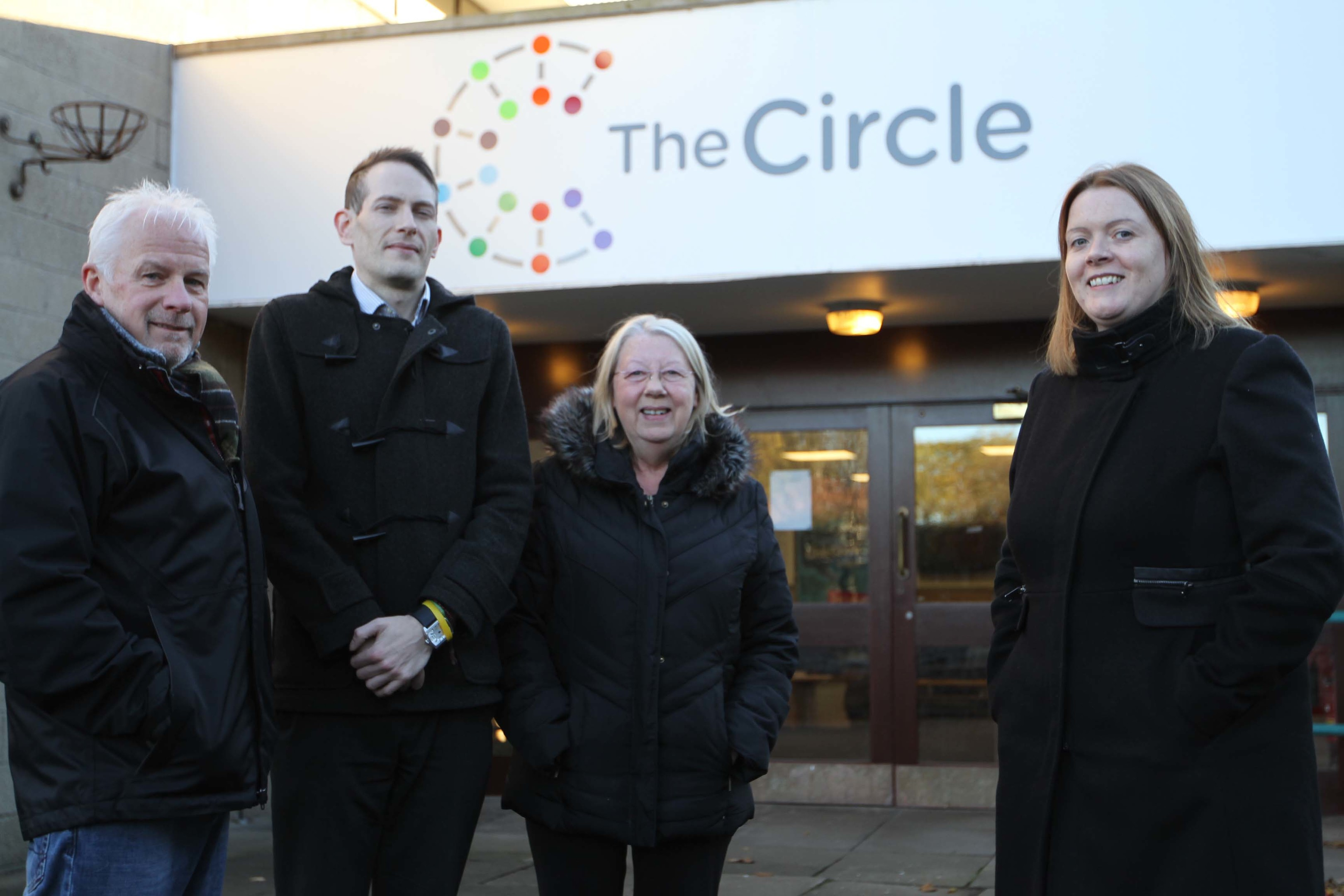 Scottish Manager of Fields in Trust Colin Rennie, Neil Inglis and Joan Carroll of Prestige Training and C.E.O of The Circle Kirsty Thomson.