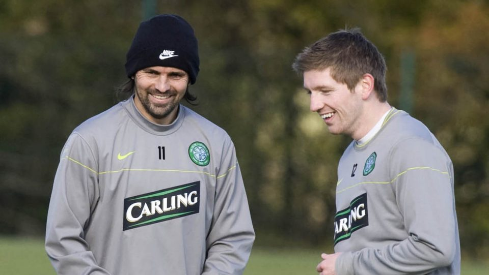 Paul Hartley and Mark Wilson in Celtic training back in 2008.