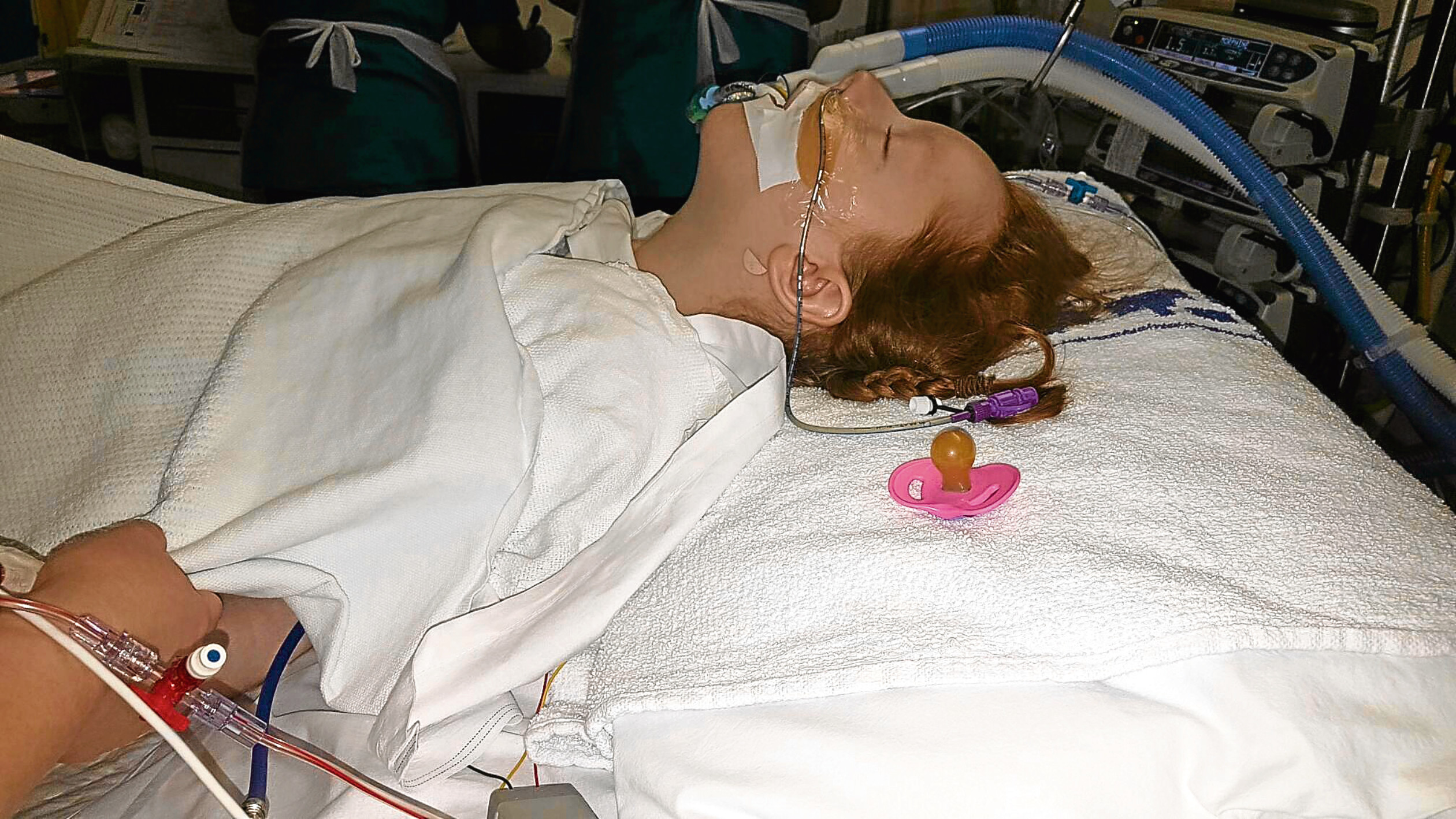 Kaela in the Royal Hospital for Sick Children in Edinburgh. The youngster is recovering after undergoing an operation.