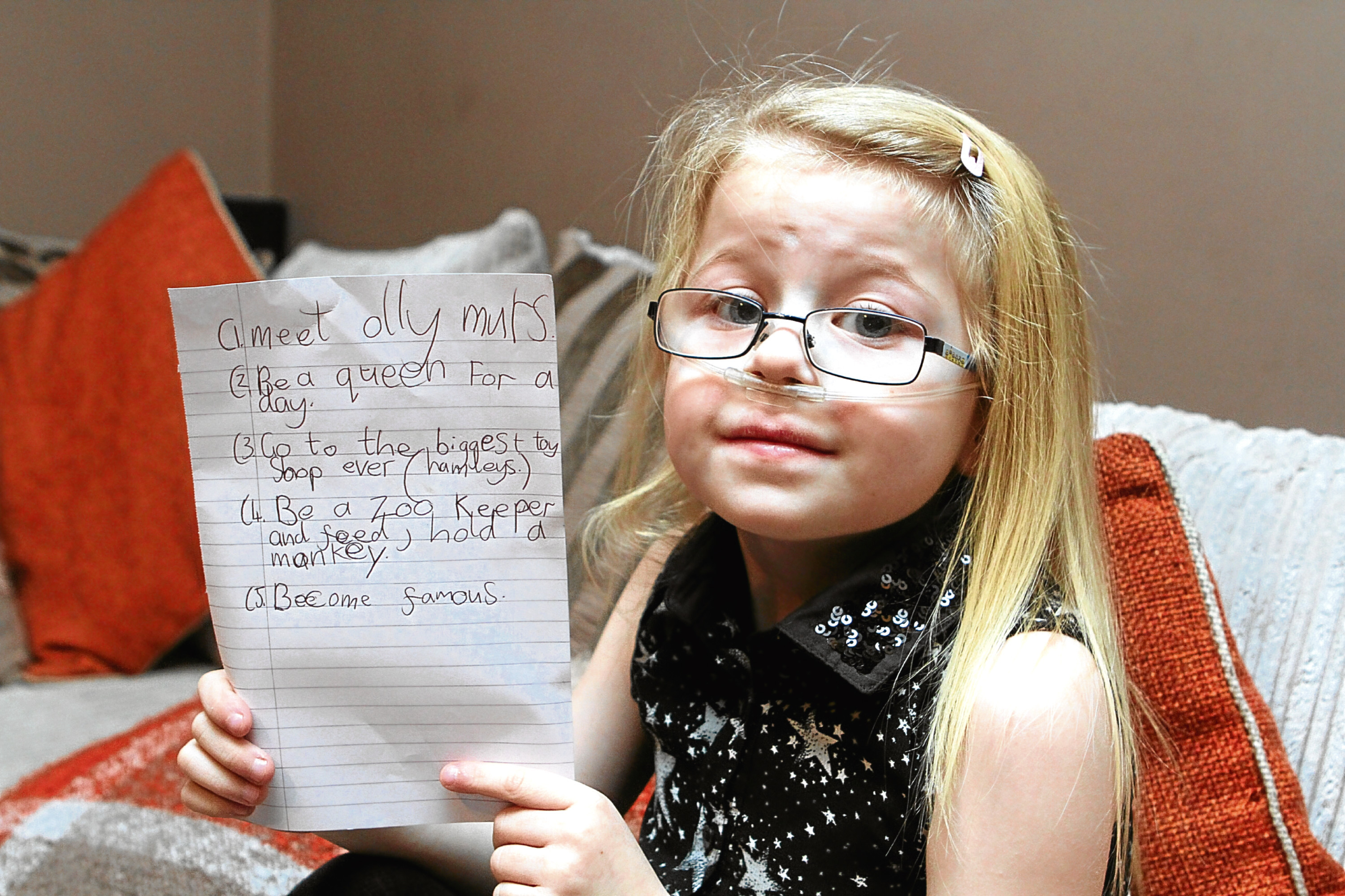 Ruby pictured with her wish list.