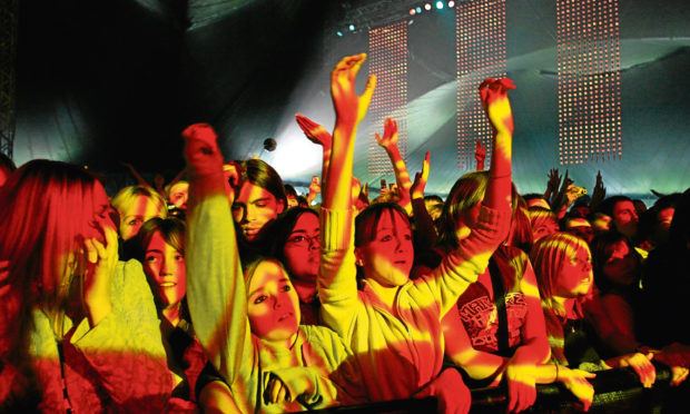 Revellers at the Radio 1 Big Weekend in Dundee, 2006.