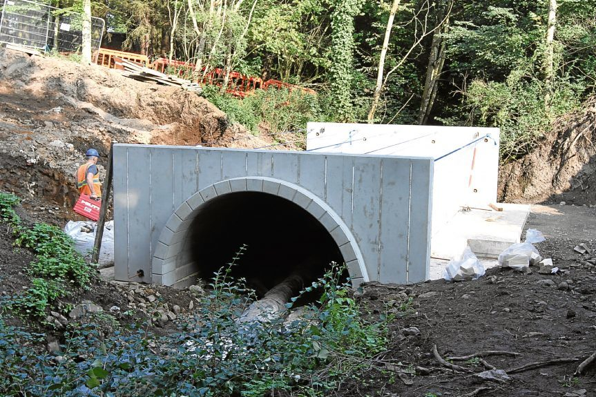 A new bridge being built to connect Mains Castle with Caird Park golf course.